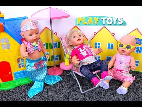 Thumbnail: Baby Doll Swim Mermaid & Kitchen toys play Baby Born dolls