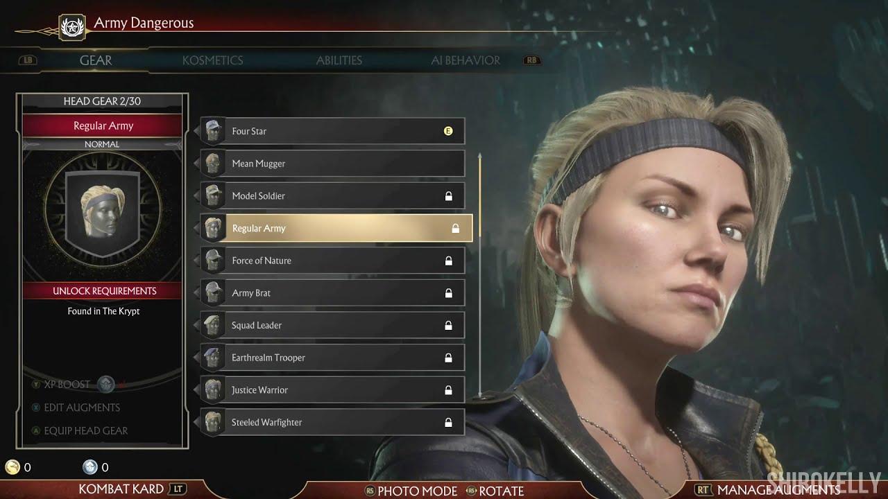 Mortal Kombat 11 Sonya Blade Character Customization All Outfits Gear