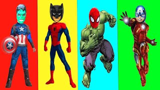 Wrong Superheroes Puzzle - Hulk Iron Man Batman Captain America Spiderman Warp mask play