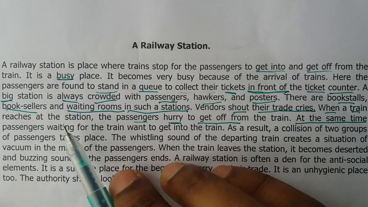 essay on a scene at railway station