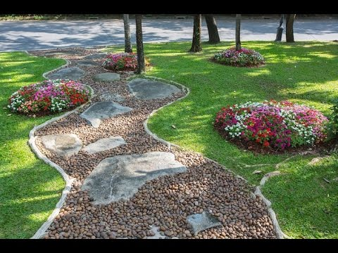 como hacer jardines con piedras youtube