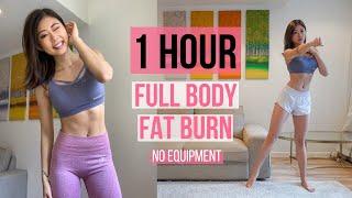 1小時全身燃脂超爆汗高效HIIT (熱身, 瘦手臂, 美背, 瘦腰+馬甲線, 瘦腿, 伸展) ~ Emi