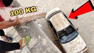 100 Kg Giant Stone Dropping On Car || Stone vs Car Experiment || Experiment King