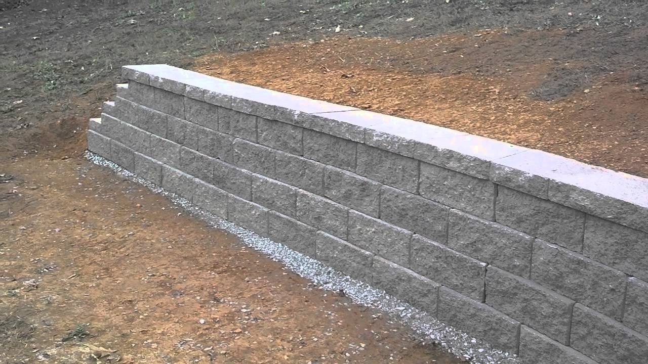 Concrete block retaining wall completed youtube Cinder block retaining wall