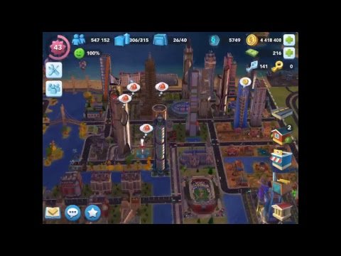 SimCity BuildIt l Episode 40 l buying a Omega Tower and Football stadium l LIVE STREAM