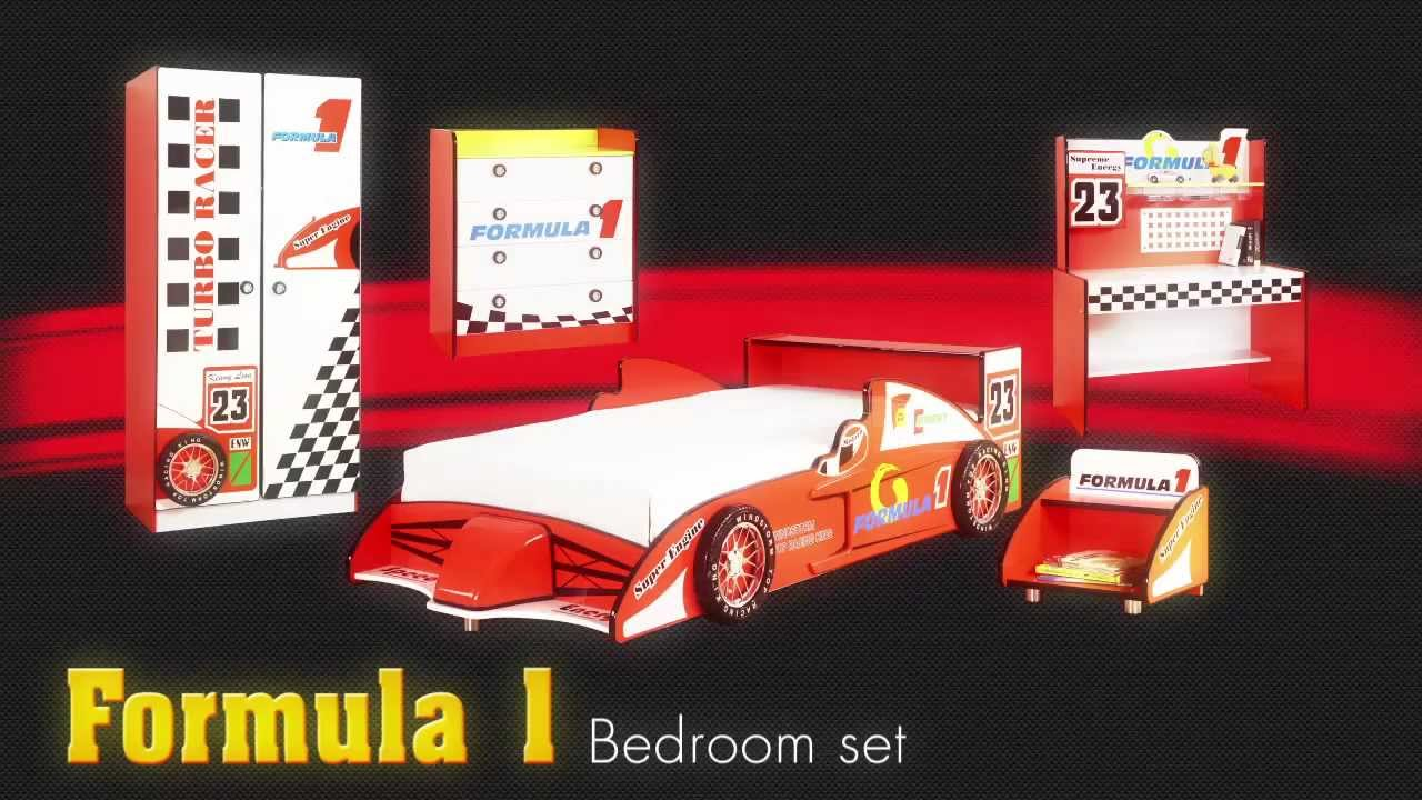 Formula 1 Racecar Theme Bedroom Furniture Set For Kids Childrens Car Bed From Little Devils Direct You