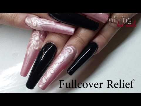 fullcover relief design pink & black nothing but nails