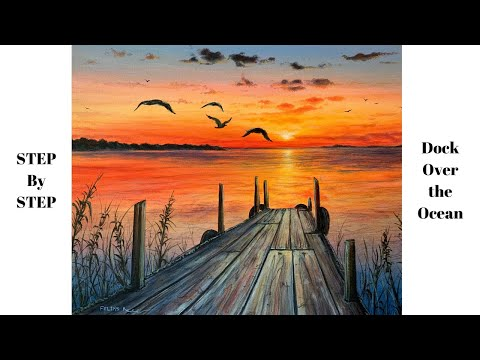 Sunset Over Ocean with Dock STEP by STEP Acrylic Painting