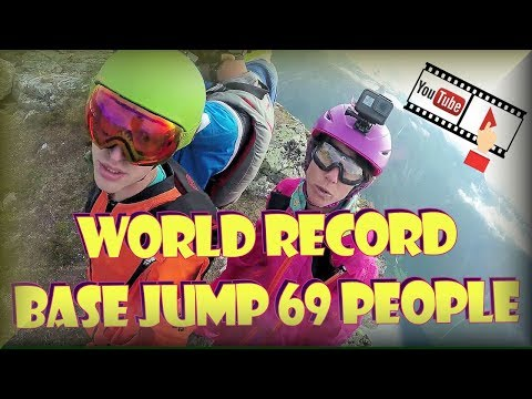 Wingsuit Eikesdalen 69 way base jump world record 2018 flying proximity action sports