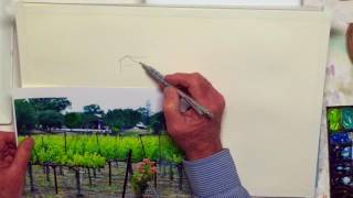 The Basics: Drawing Vs Painting A Vineyard Watercolor Sketch