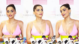 Sonam Kapoor In Deep Cleavage Green Dress At Hello Hall Of Fame Awards 2019