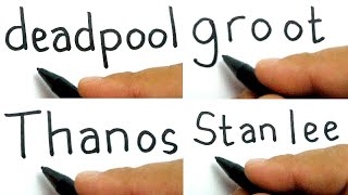 compilation marvel  , how to turn words DEADPOOL , GROOT , THANOS , STANLEE into cartoon