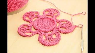 ОБВЯЗКА ШНУРОМ ГУСЕНИЧКА вязание цветка крючком ЧАСТЬ 2  Crochet flower pattern