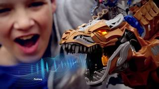 stomp and chomp grimlock figure transformers age of extinction toys   tv commercial