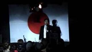 建国祭2668に招かれてステージ上で挨拶する維新政党・新風の鈴木信行氏 ...