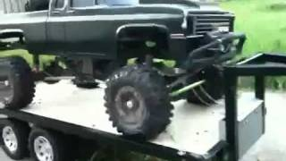 1 9 scale tamiya toyota tundra highlift with trailer and chev extended cab