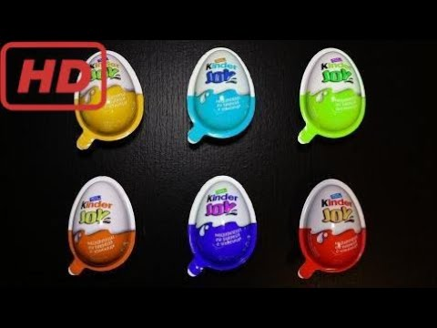 Kinder Joy Surprise Eggs Learn Colours Yellow Blue Green Orange Purple Red
