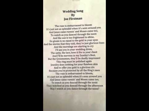 Joe Firstman - Wedding Song with lyrics