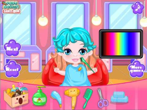 play hair salon game give baby girl barbie new haircuts baby