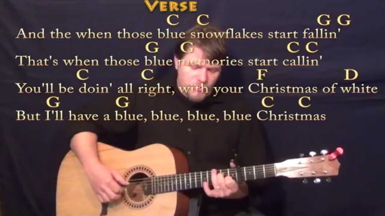 Blue Christmas (Elvis) Fingerstyle Guitar Cover Lesson with Chords ...