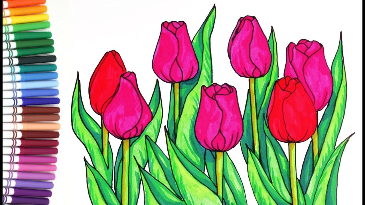 Beautiful Tulips Coloring Pages For Children Spring Flowers Funny