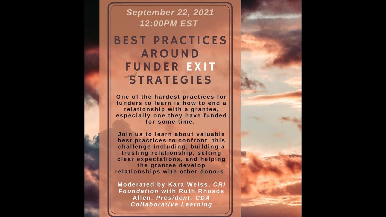 Best Practices Around Funder Exit Strategies