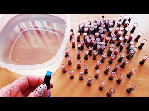 Mixing 100 Mini Lipsticks into Clear Slime