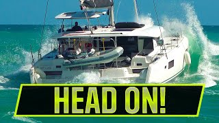 LARGE CAT SMASHES ROUGH SEAS HEAD ON | ROUGH INLETS | Boats at Jupiter Inlet