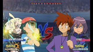 Pokemon Battle USUM: Alola Ash and Gladion Vs Gary and Paul