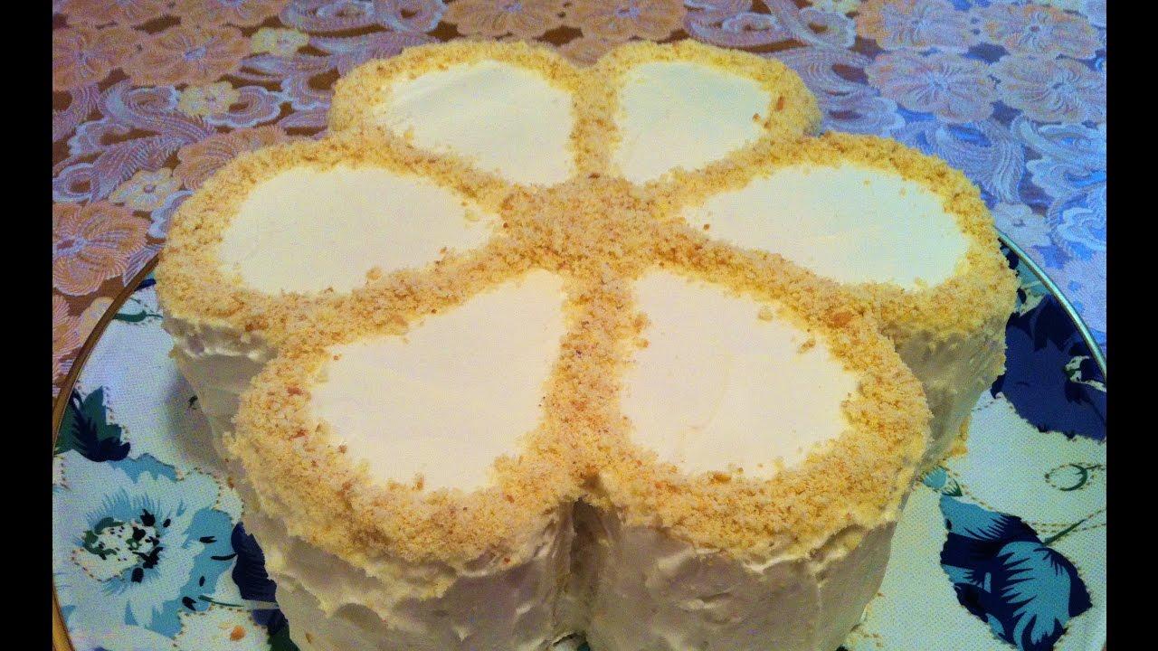 Торт на сгущенном молоке со сметанным кремом