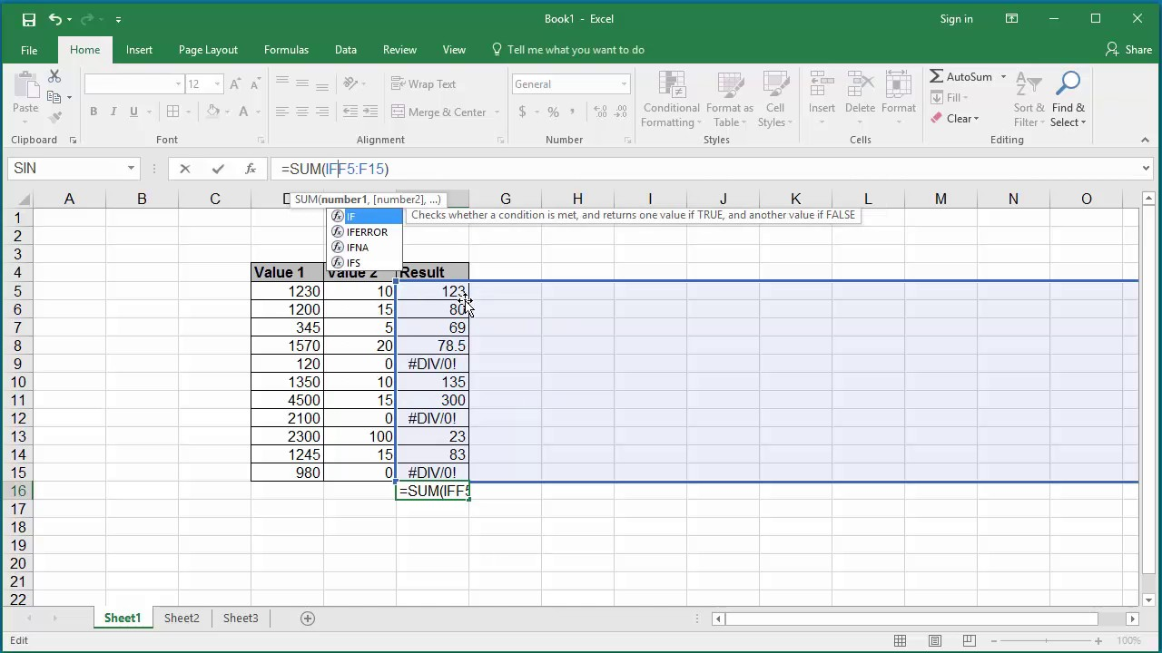how to sum a range of cell values which contain some error