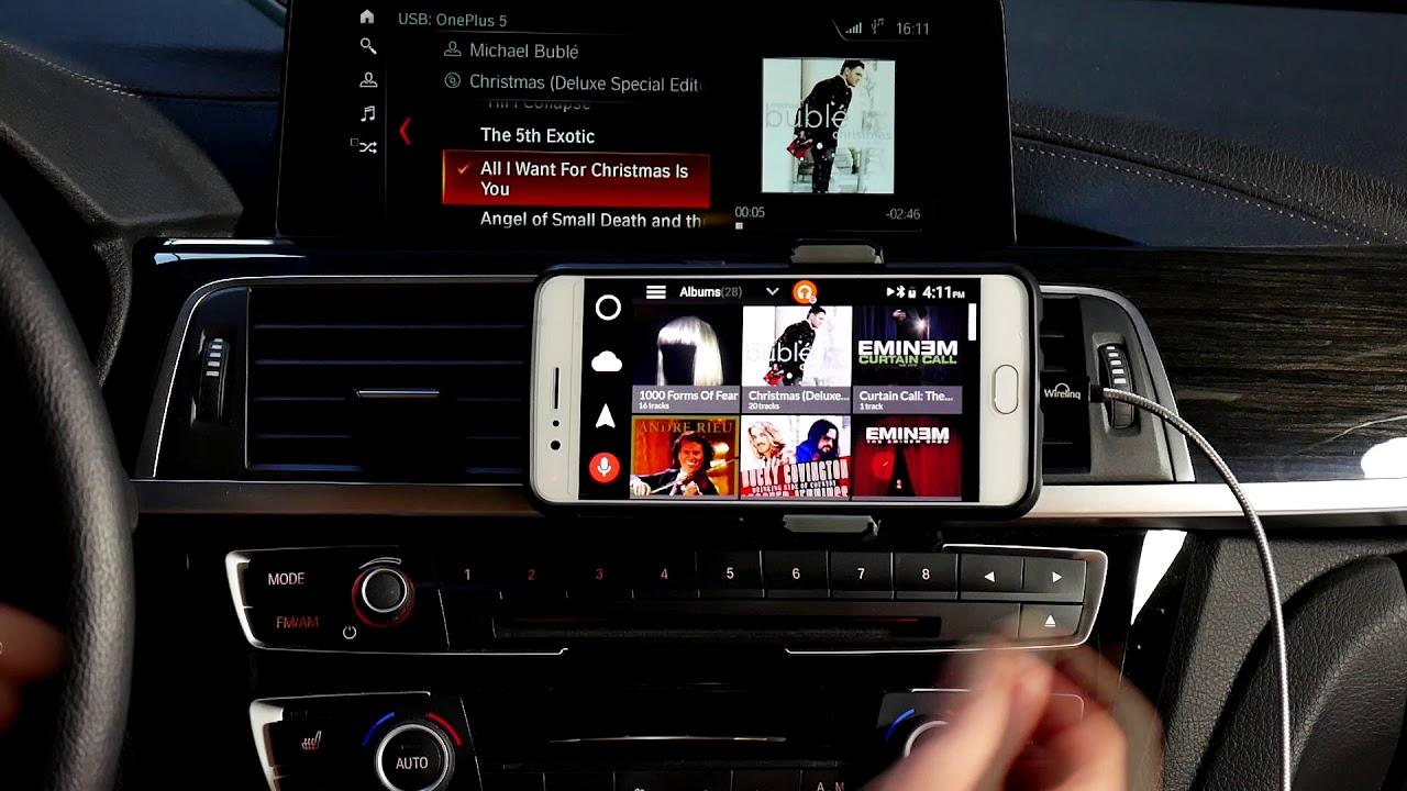 Wirelinq Android Car USB Integration in BMW - Dashlinq Spotify, Pandora,  Google Music plugins demo