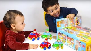 children play with cars, kids boys