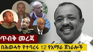 EXPOSED: 12 Amhara Generals fired by TPLF