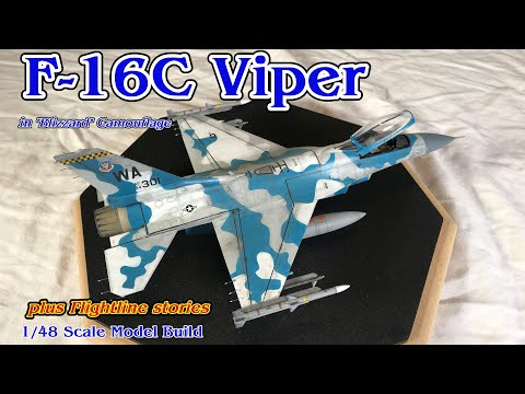 "Building the Tamiya 1/48th scale F-16C Falcon Fighter Jet with ""Blizzard"" Camouflage"