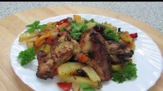 Куриные окорочка с овощами запеченные в духовке.   Кухня вкусная -1