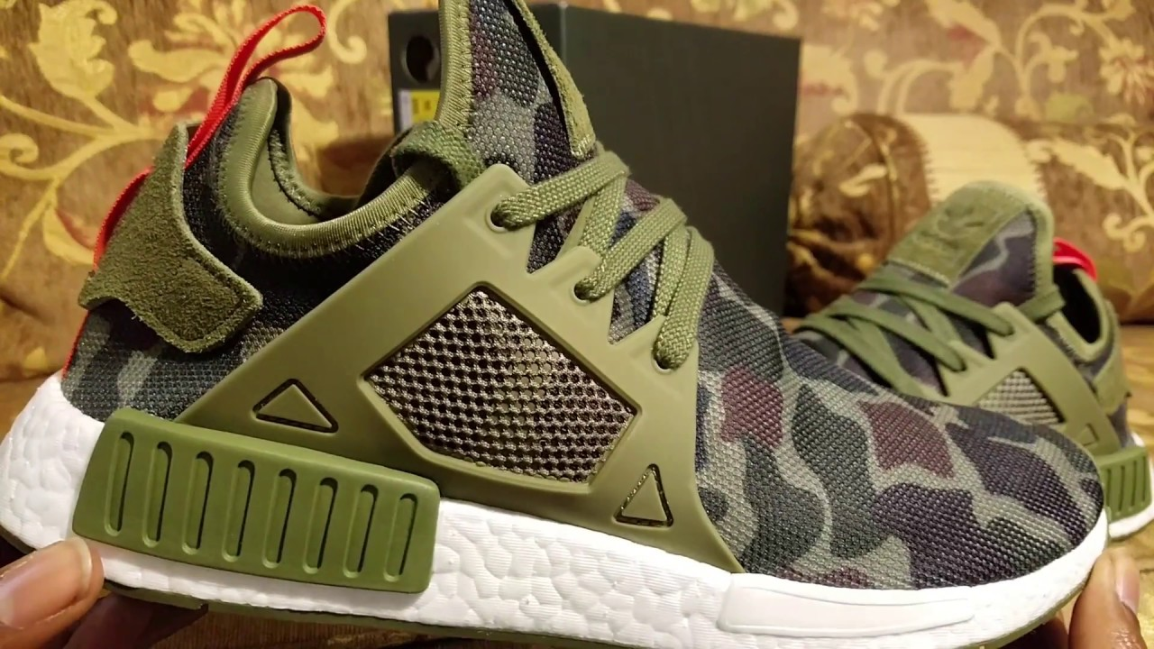 well wreapped Adidas NMD Xr1 duck camo green for men or women