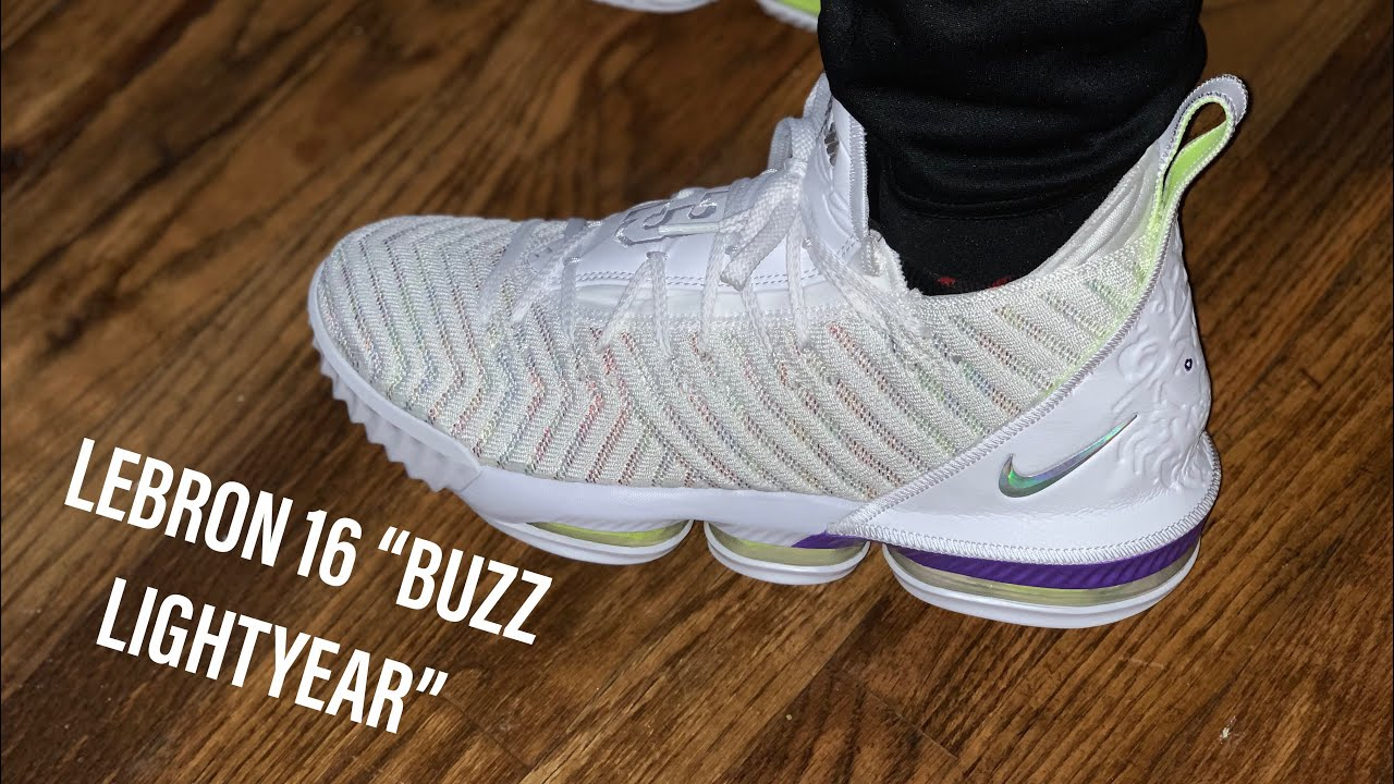 """7a24411bc6070 FIRST LOOK: NIKE LEBRON 16 """"BUZZ LIGHTYEAR"""" (ON FOOT) - YouTube"""