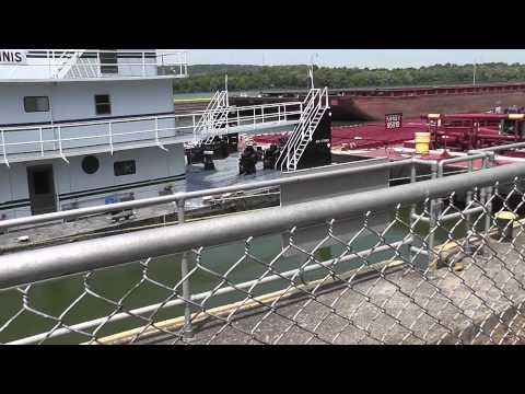 Kirby Lines towboat Senator Stinnis exiting lock chamber - Markland Lock and Dam