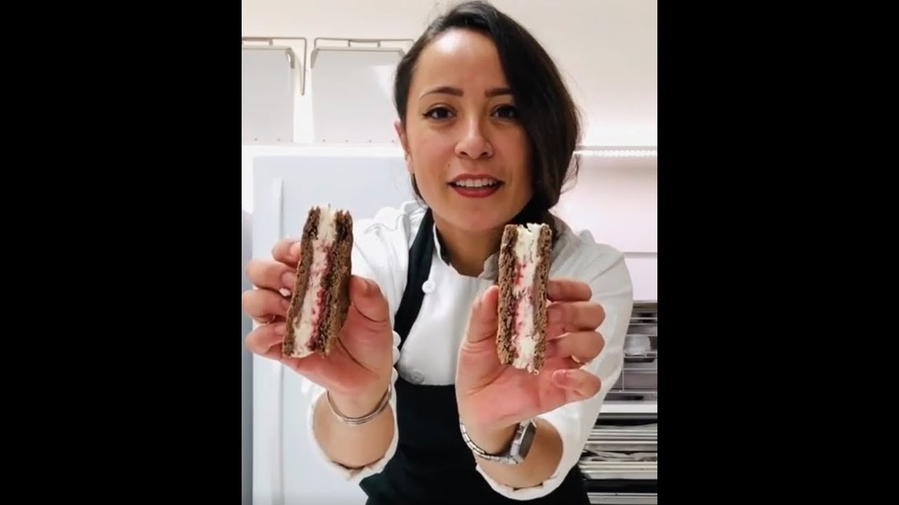 Pastry Chef Karla Espinoza- Coconut & Cherry Semifreddo ice cream Sandwich