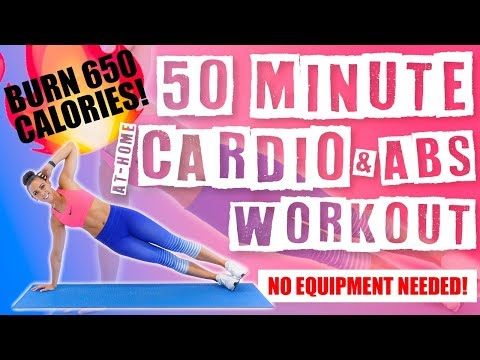 50 Minute At Home Cardio And Abs NO EQUIPMENT NEEDED Workout 🔥Burn 650 Calories!🔥