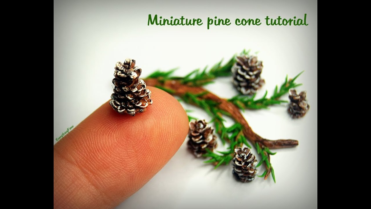 Miniature pine cone tutorial polymer clay youtube for What to do with pine cones for christmas