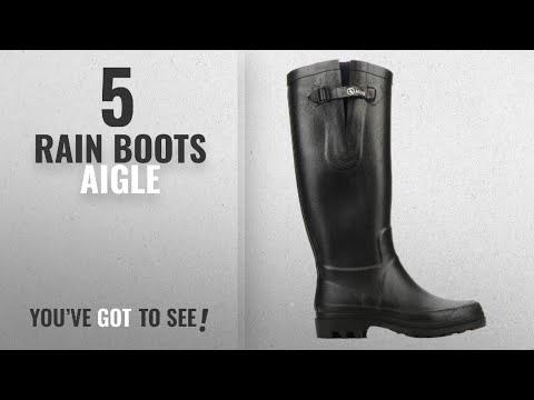 Top 5 Rain Boots Aigle [2018]: Aigle Aiglentine Natural Rubber Rain Boots - Black (Noir) , (US 6.5