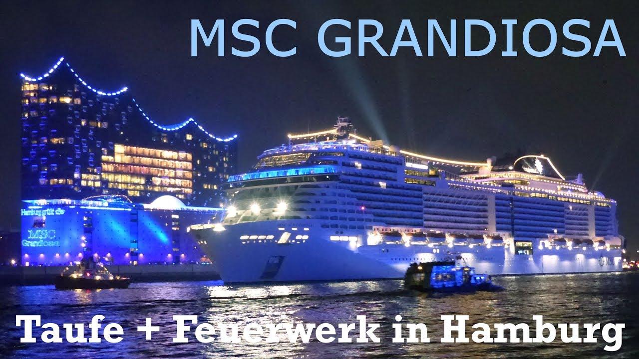 Msc Grandiosa Christening Lightshow Fireworks In Hamburg