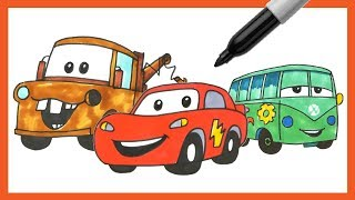 How to Draw Lightning McQueen and Friends! | Drawing Cars Disney Pixar | Mater | Luigi | OKIDOKIDS
