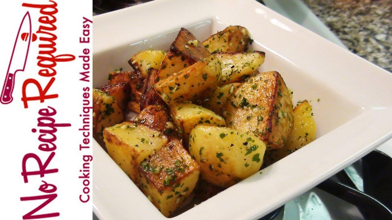 Roast Potatoes with Garlic & Parsley - NoRecipeRequired.com - YouTube