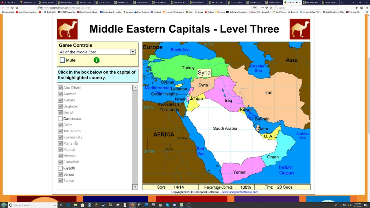 Sheppard Software Geography Middle East Capitals SS 66s