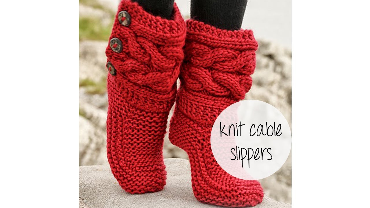 How to knit cable slippers youtube bankloansurffo Choice Image