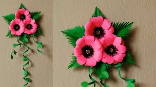 SIMPLE DIY PAPER FLOWER WALL/DOOR HANGING | EASY GIFT IDEA | PAPER DECOR