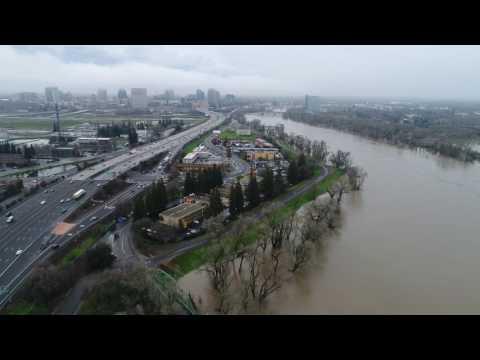 Sacramento American Rivers Discovery Park Flooding (02/10/2017)